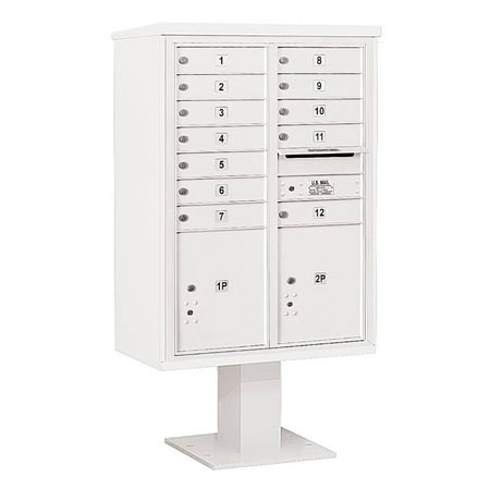 32.25 in. Mailbox with Pedestal Base in White | Sku